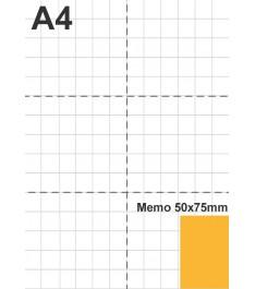 Dimensione post-it 50x75mm in relazione ad un foglio A4