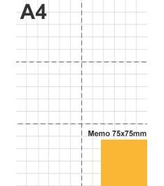 Post-it 75x75mm rapportati a grandezza foglio A4