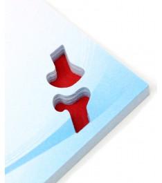 Dettaglio memo adesivi con intaglio personalizzato su ogni foglietto