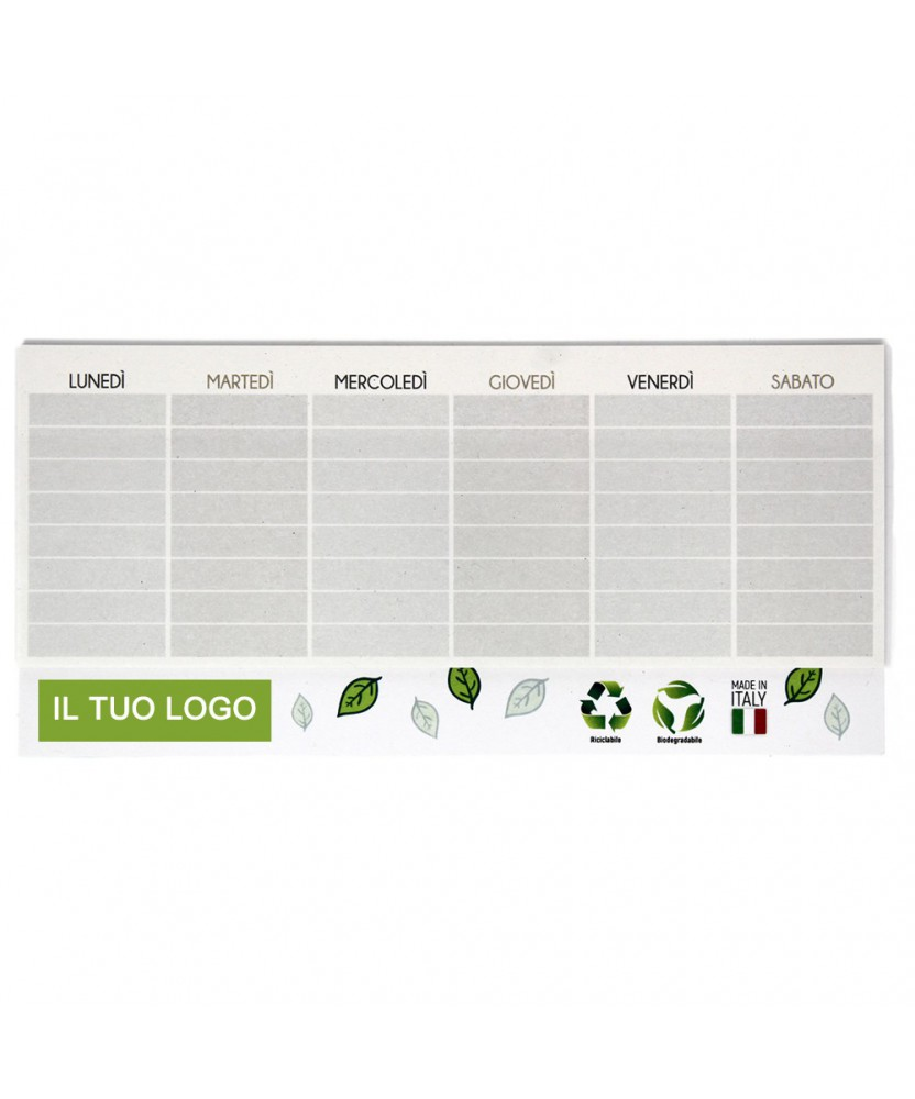 Giallonote Planning settimanale da tavolo in carta riciclata, personalizzato Quadricromia