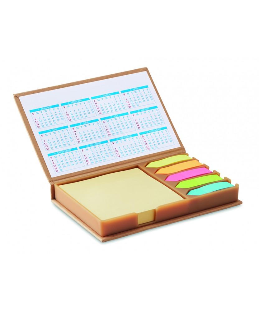Set combinato Giallonote con calendario annuale, foglietti e segnapagina in carta