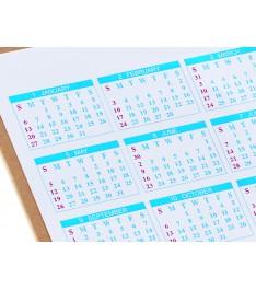 Set combinato All-in Calendar, dettaglio calendario annuale