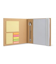 Set da scrivania personalizzato con Block notes, post-it, segnapagina e penna. Bianco