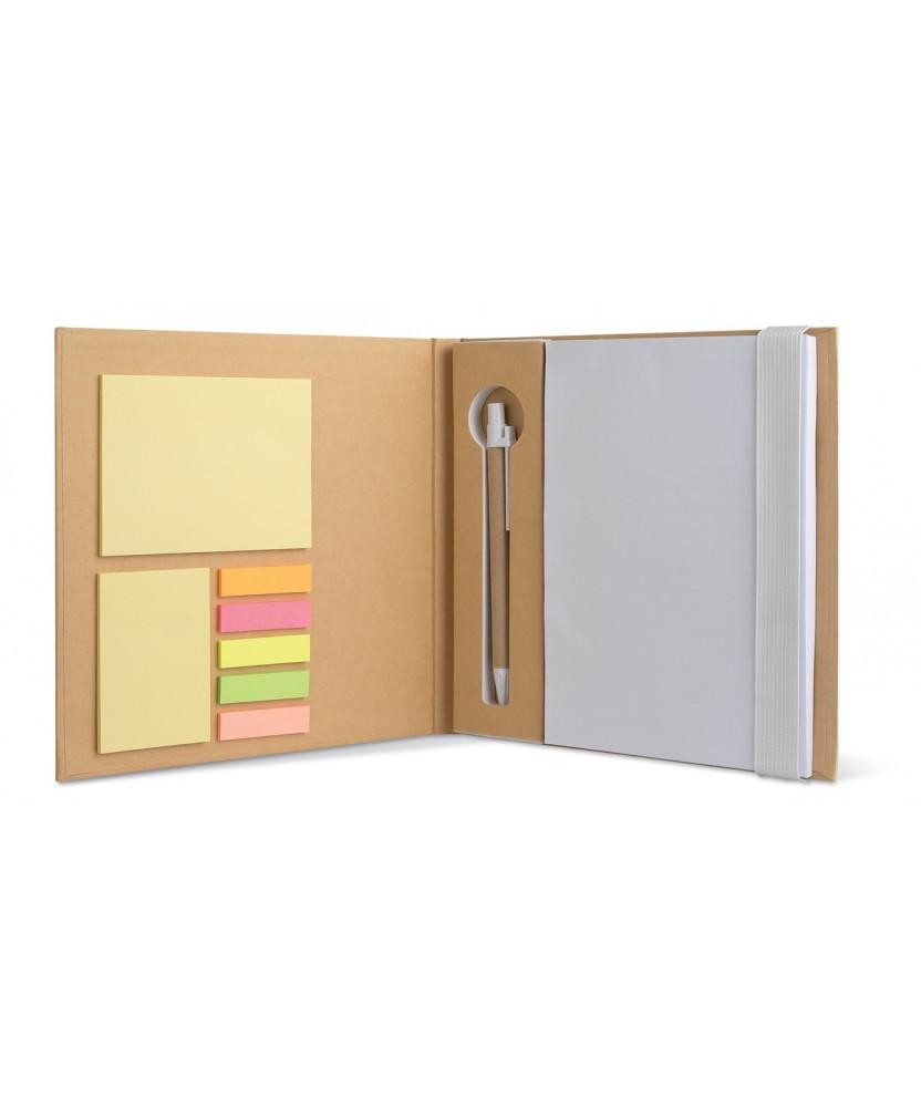 Set da scrivania personalizzato con Block notes, post-it, segnapagina e penna. Bianco