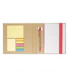 Set da scrivania personalizzato con Block notes, post-it, segnapagina e penna. Dettagli rossi