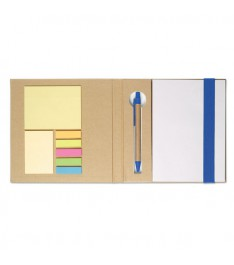 Set da scrivania personalizzato con Block notes, post-it, segnapagina e penna. Dettagli blu