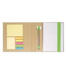 Set da scrivania personalizzato con Block notes, post-it, segnapagina e penna. Dettagli verdi