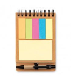 Set appunti aperto con linguette segna pagina, post-it e penna