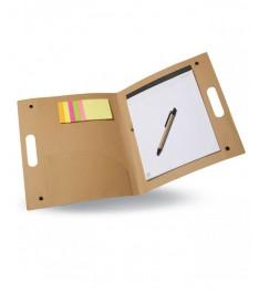 Cartellina portadocumenti portablocco aperto con blocco e post it