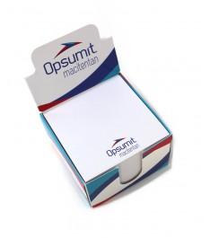 dispenser con cubo post-it personalizzato aperto