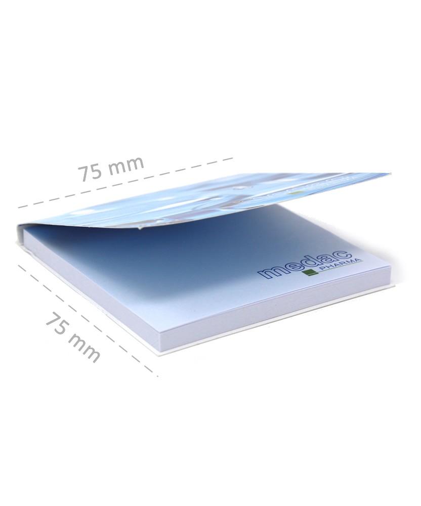 misure memo adesivi personalizzati 75x75mm con copertina stampa 1-4 colori giallonote