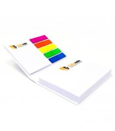 mini organizer personalizzato con copertina 2 memo adesivi bandierine segnapagina aperto