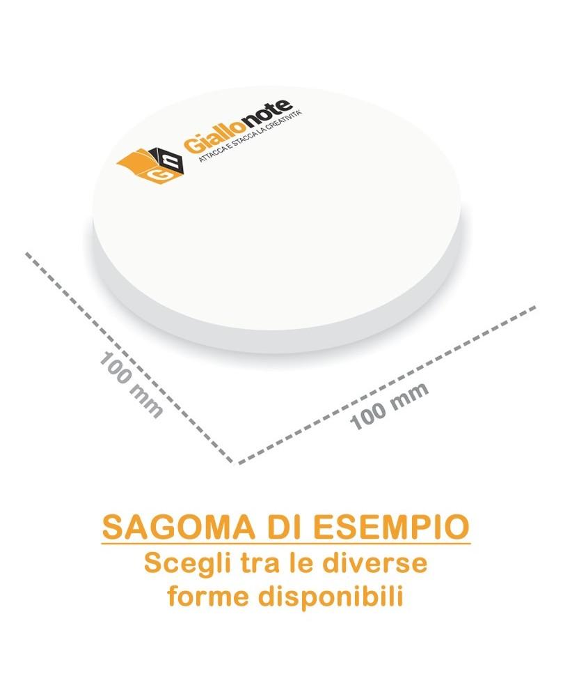 Memo adesivi sagomati 100 x 100 mm personalizzati dimensione