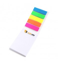 mini organizer personalizzato 50x75 copertina memo adesivi bandierine segnapagina aperto giallontoe