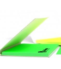 memo elettrostatico personalizzato 100x70  con copertina giallonote verde copertina aperta