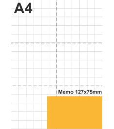 Dimensioni memo giallonote 127x75mm a comparazione con blocco A4