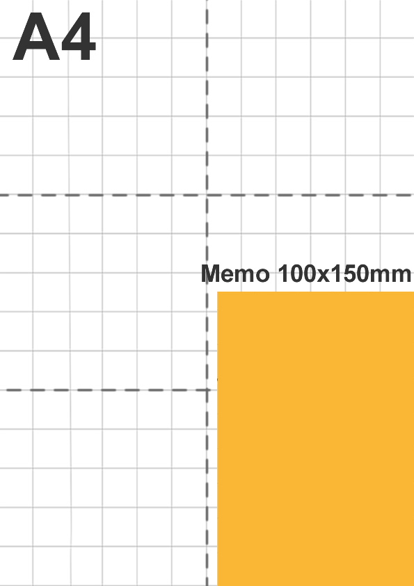 Dimensione memo 100x150mm rispetto a foglio A4