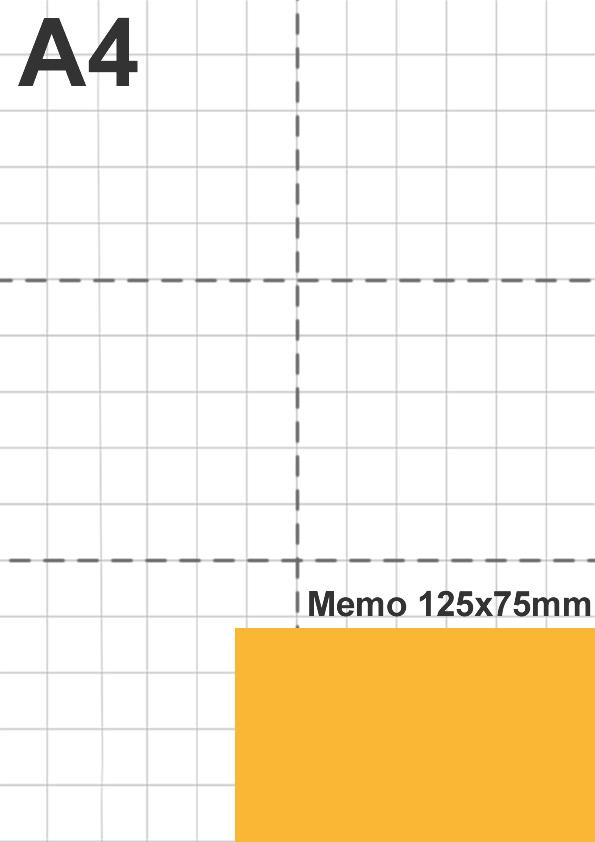 Dimensione memo 125x75mm rispetto a foglio A4