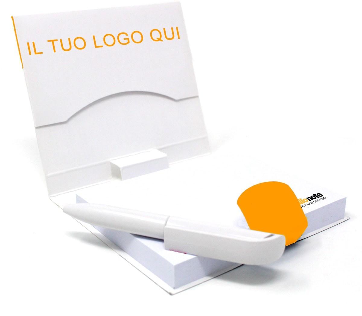 Memo personalizzato con copertina, tasca e penna a sfera