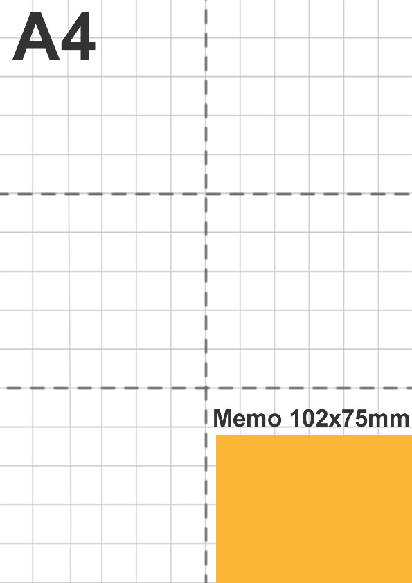 Dimensione memo 102x75mm rispetto a foglio A4