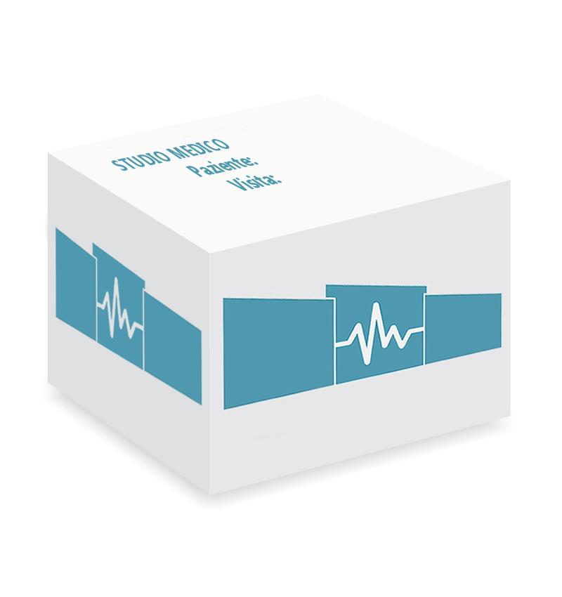 cubo con fogli appunti personalizzazione per studio medico