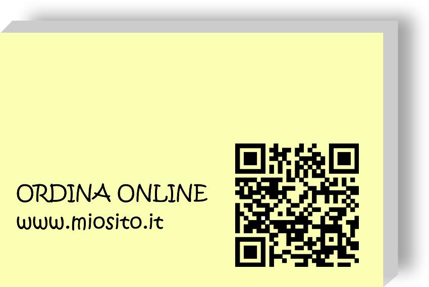 Esempio di stampa memo adesivi 50x75mm con QR code