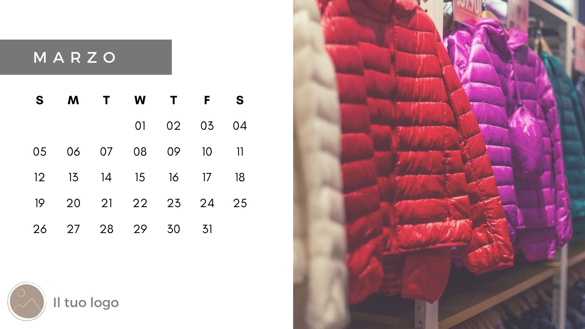 template calendario personalizzato con foto giacche