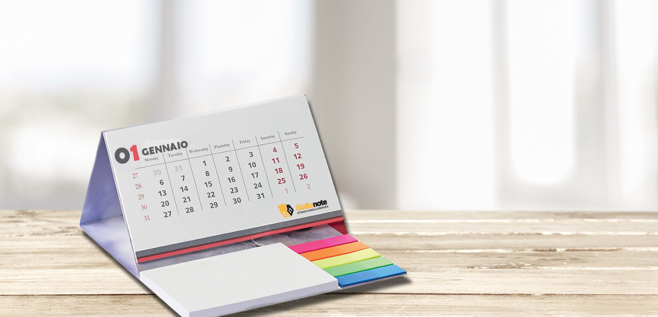 Calendario Giallonote personalizzabile con post-it
