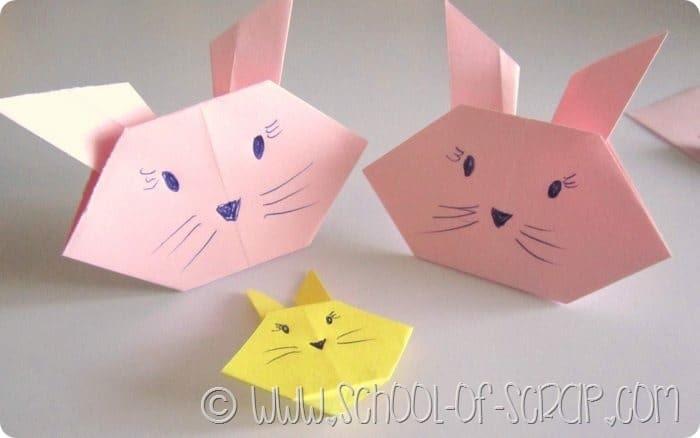 Coniglietti rosa creati con l'origami