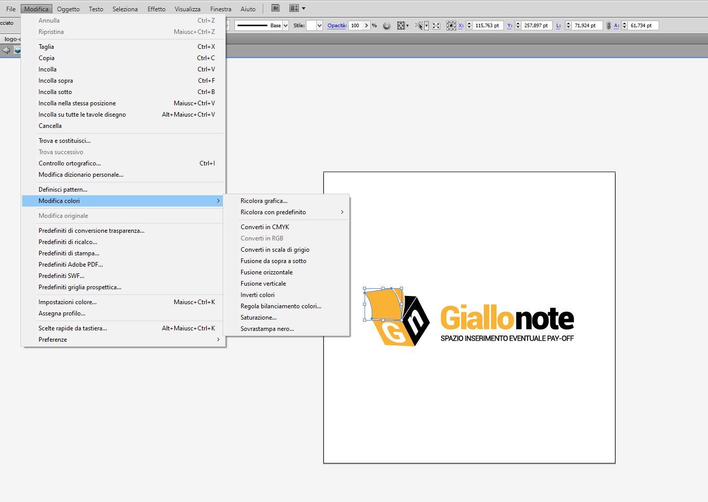 Convertire cmyk in pantone in Illustrator - parte1