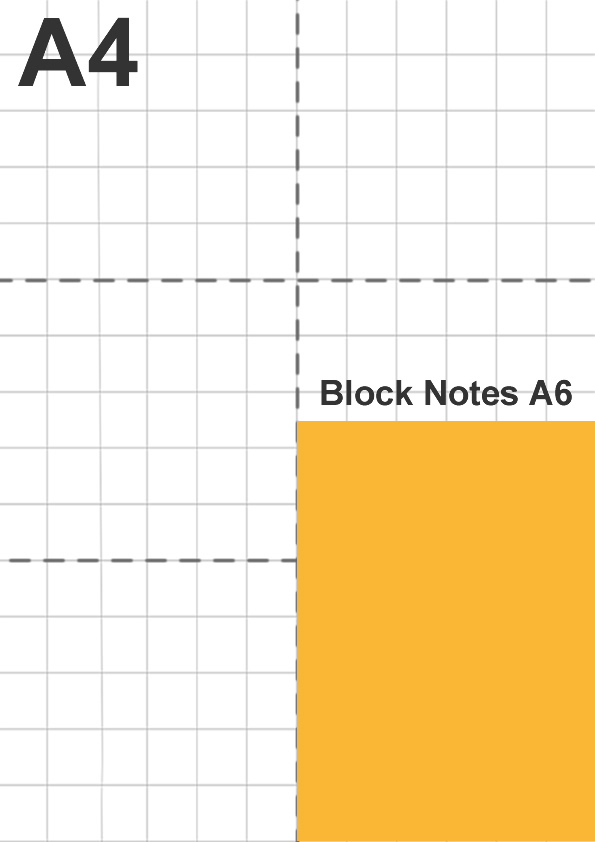 Dimensione block notes A6 in relazione a foglio A4