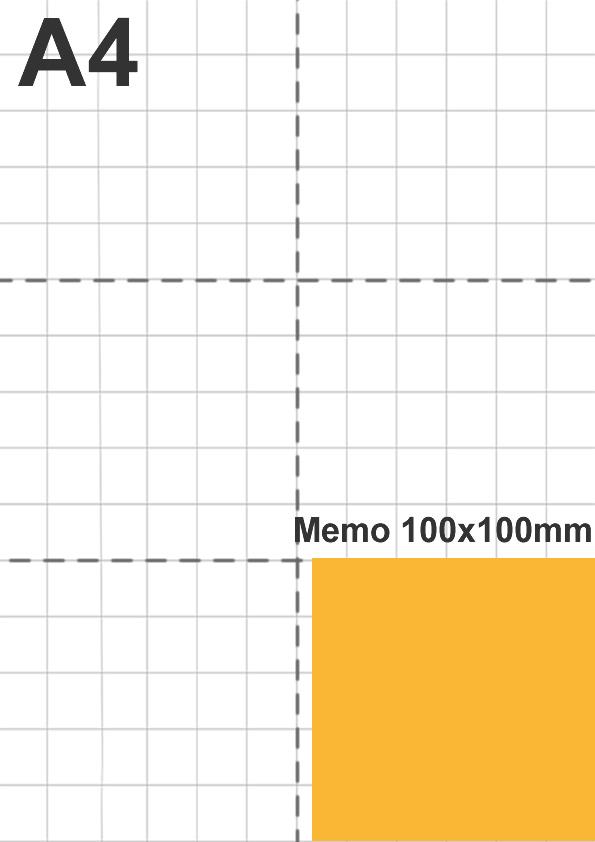 Dimensione memo 100x100mm rispetto a foglio A4