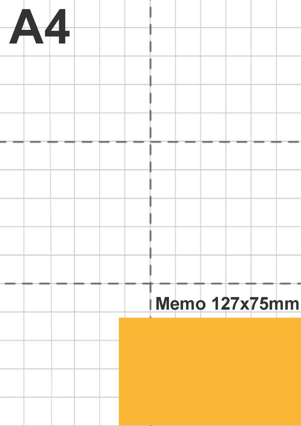 Dimensione memo 127x75mm rispetto a foglio A4