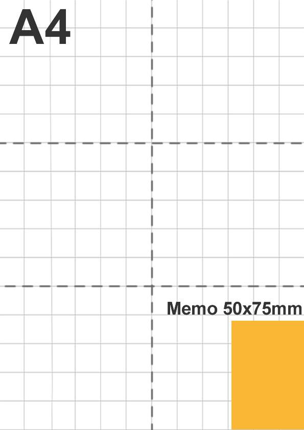 Dimensione memo 50x75mm rispetto a foglio A4