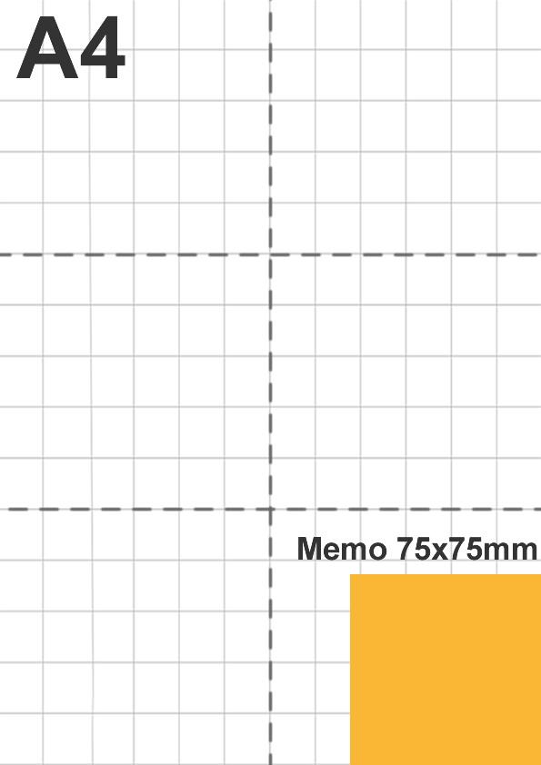 Dimensione memo 75x75mm rispetto a foglio A4
