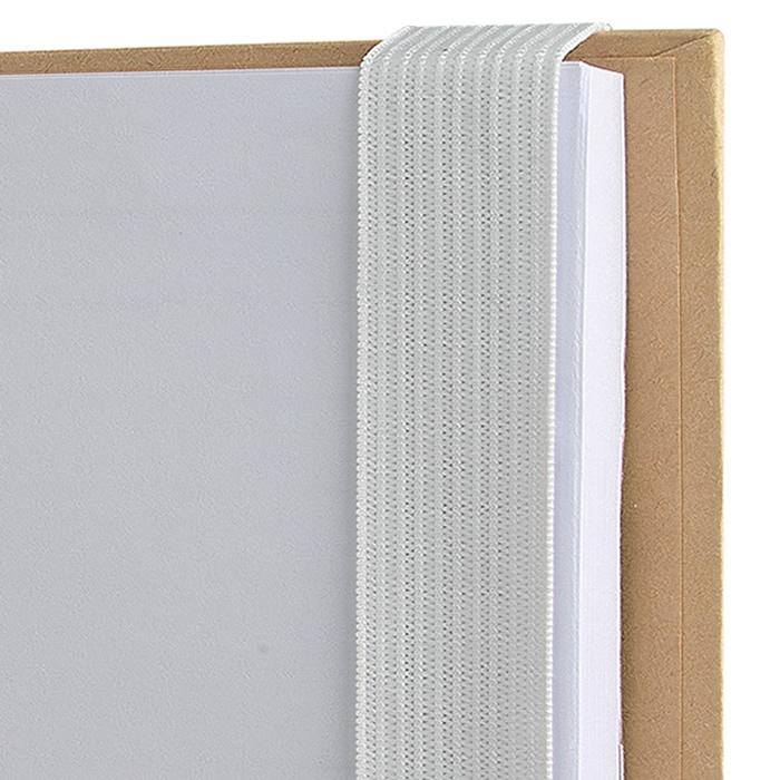 Block notes fogli bianchi fermati da elastico