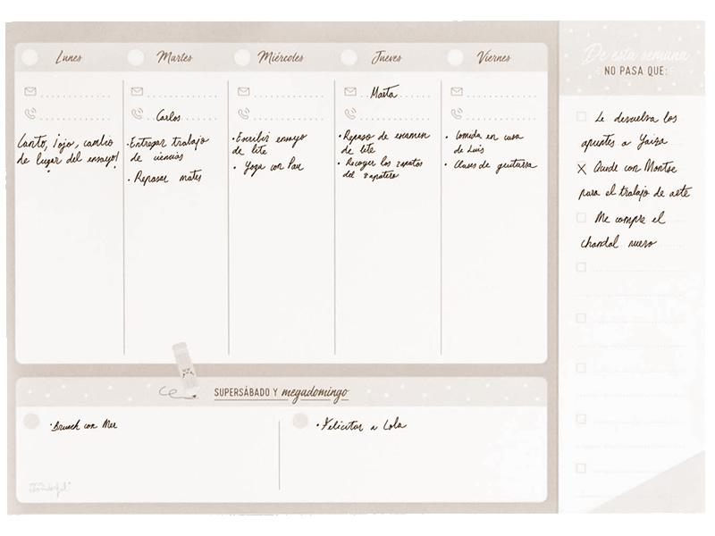 Planning settimanale da scrivania personalizzato