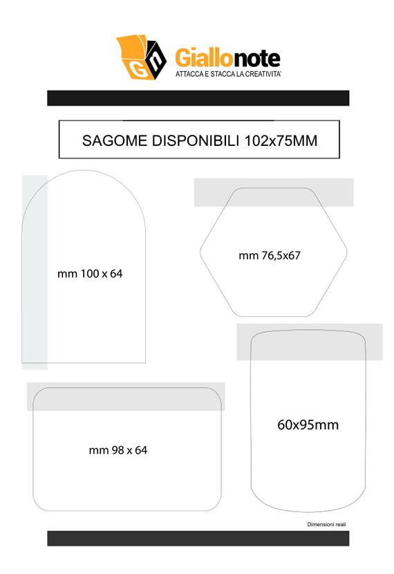 Fustelle blocchetti memo adesivi sagomati 102x75mm