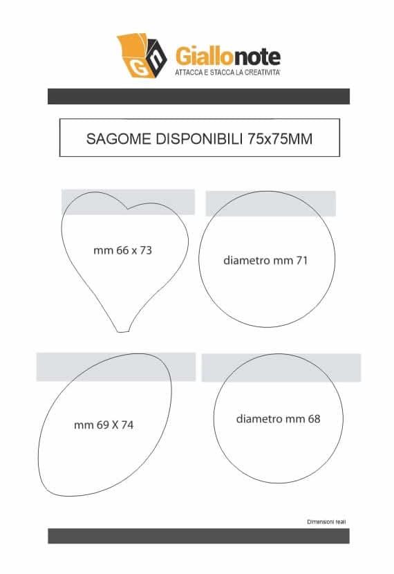 Fustelle blocchetti memo adesivi sagomati 75x75mm