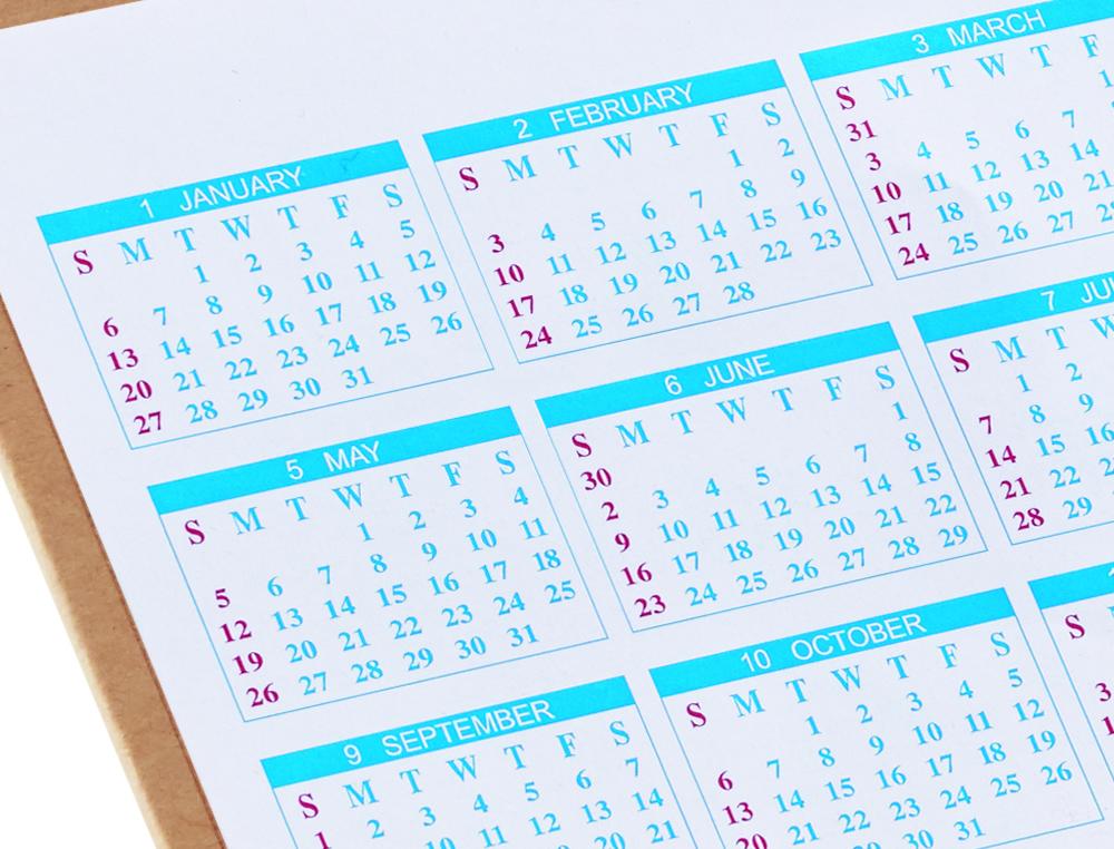 Mini organizer calendario annuale 4 targhette per 4 anni