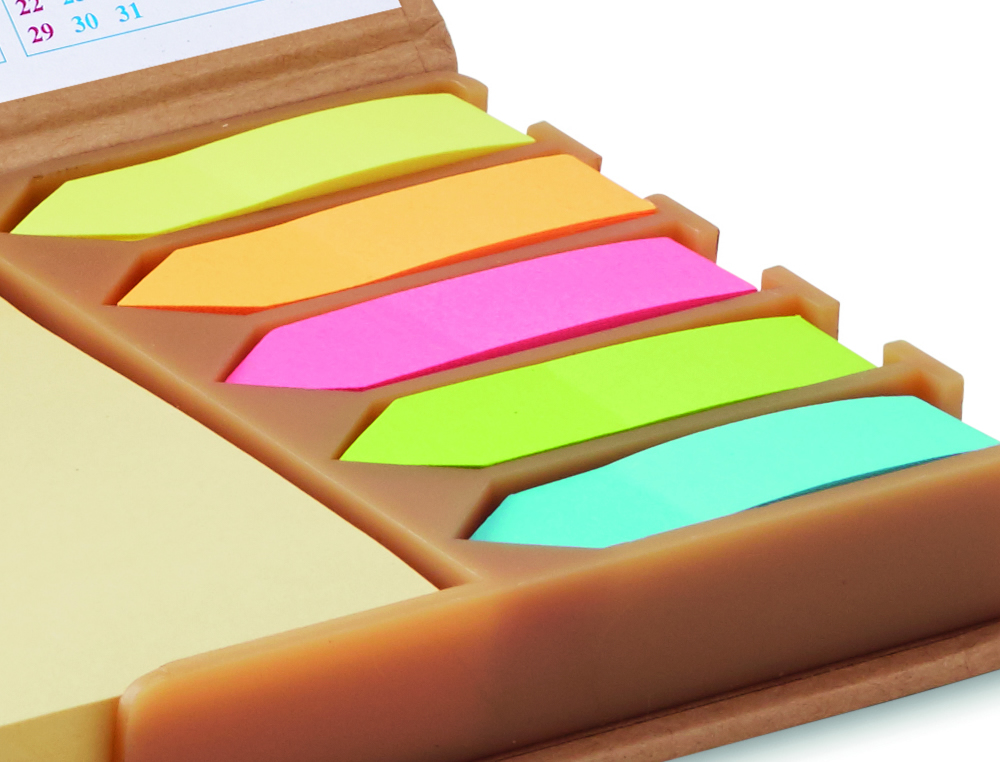 Mini organizer con bandierine segnapagina in carta riciclata
