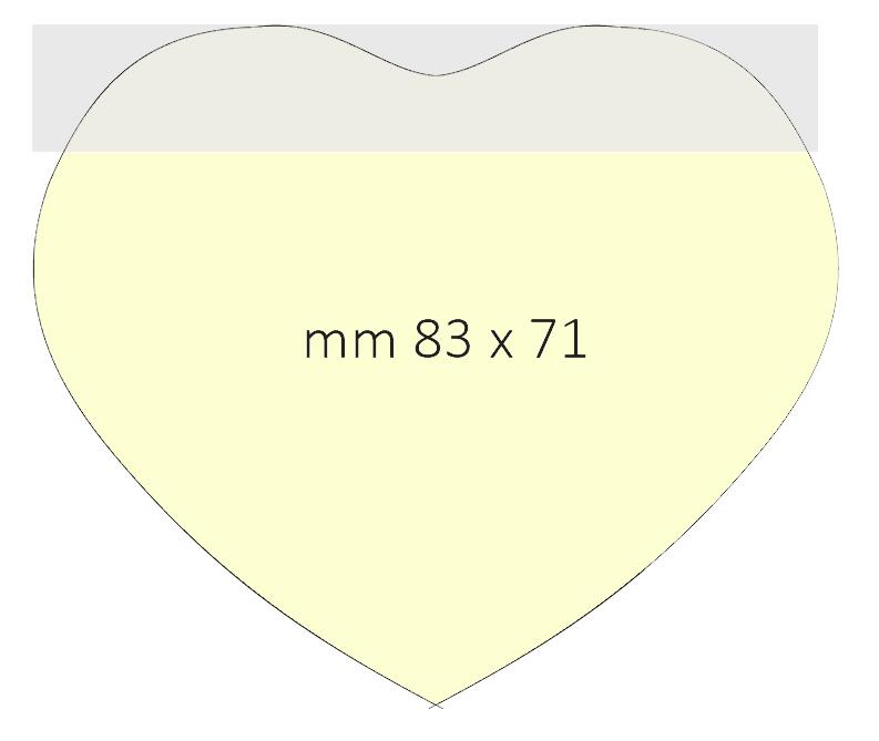 Post it sagomato 102x75mm - dimensione finale 83x71mm