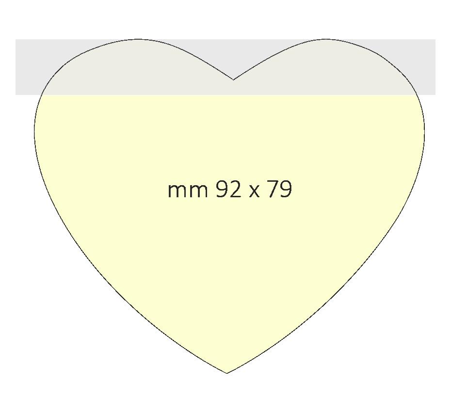 Post it a forma di cuore dimensione 92 x 79 mm