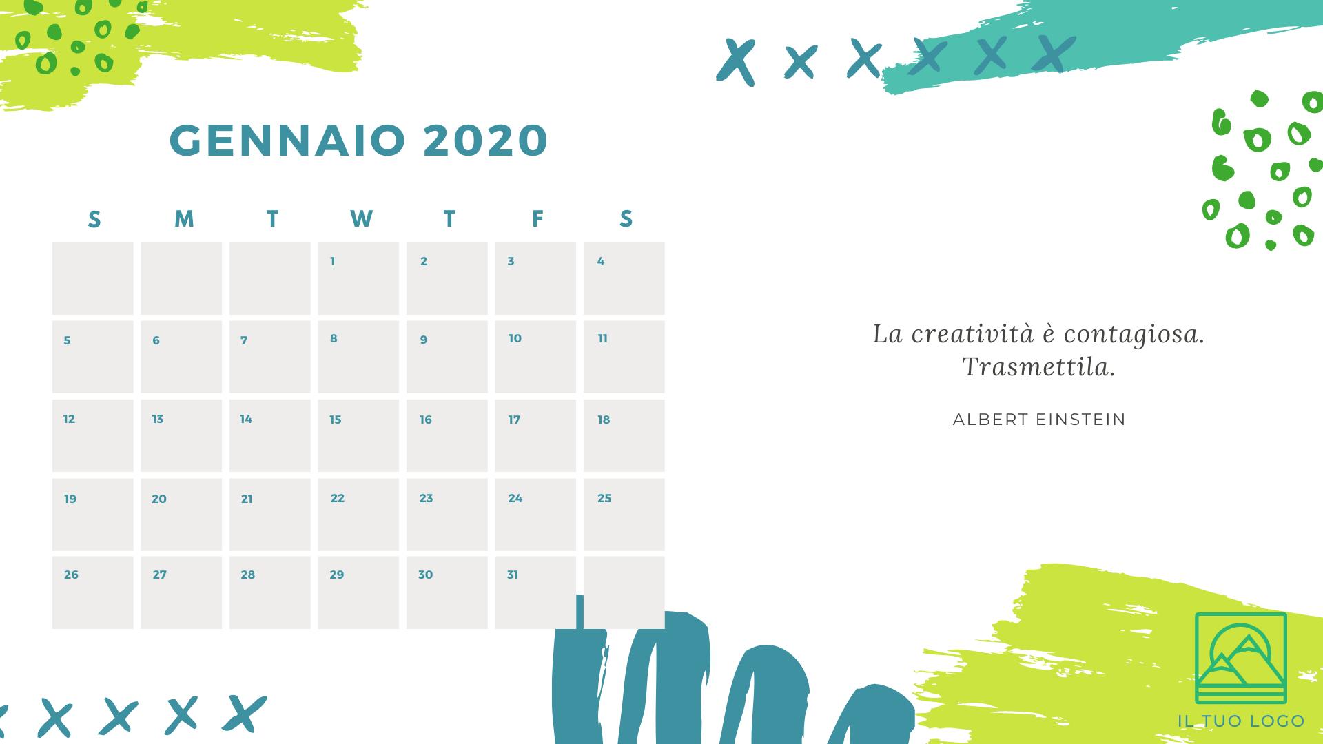 template calendario personalizzato con frase motivazionale