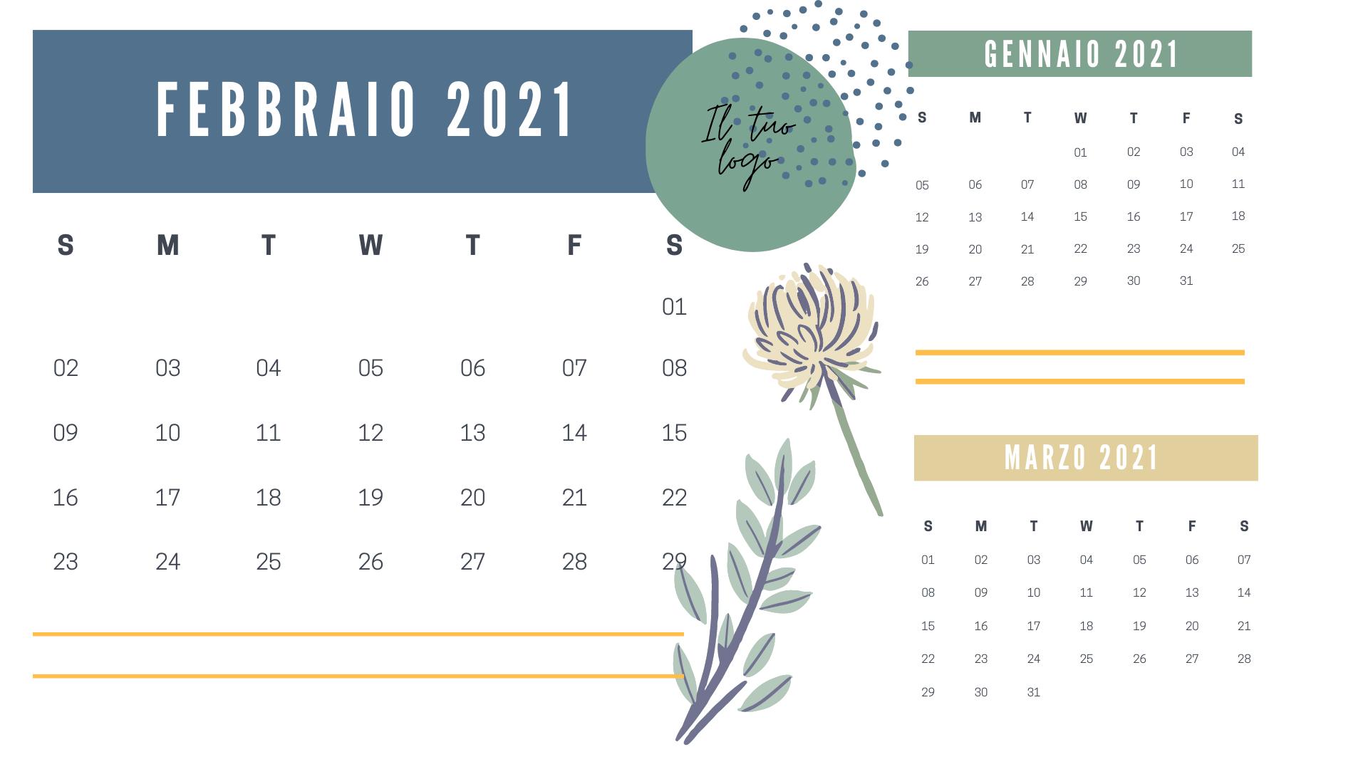 template calendario personalizzato con mese precedente e mese successivo
