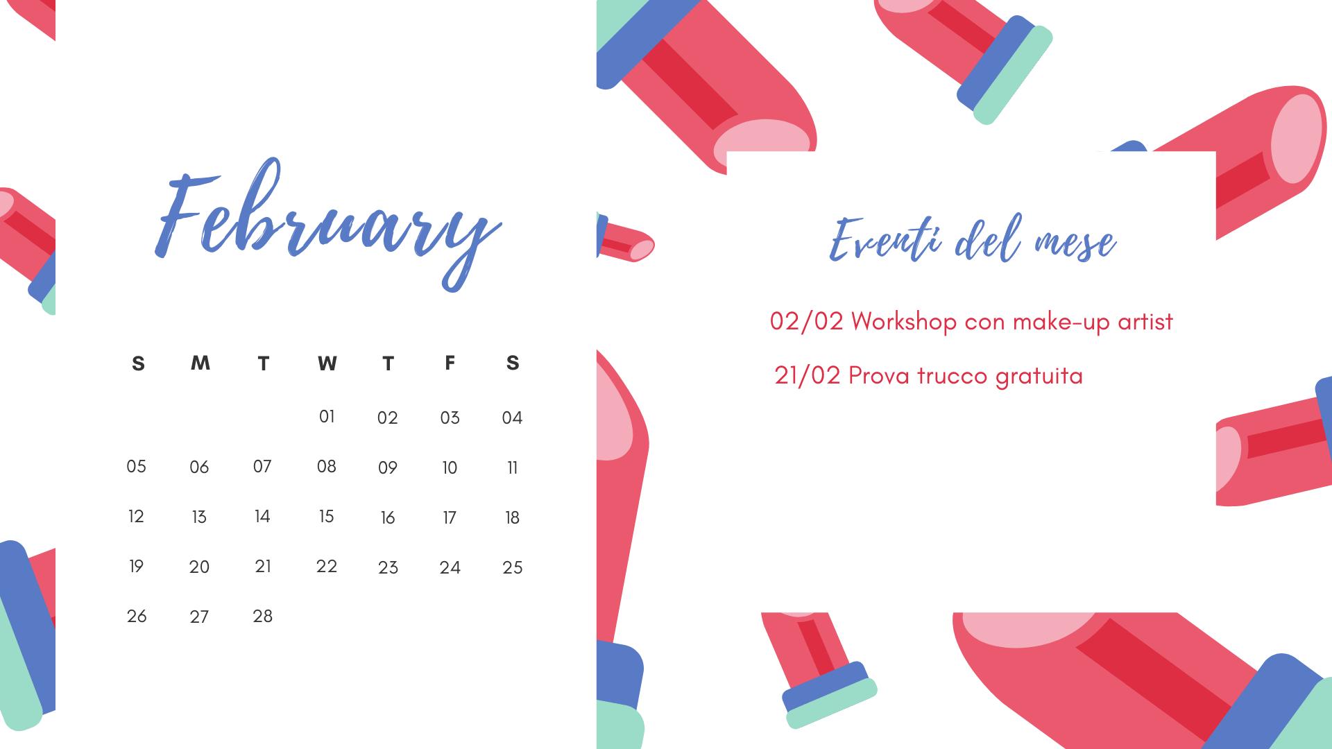 template calendario personalizzato con spazio eventi